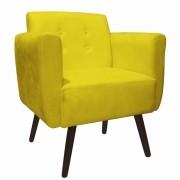 Poltrona Duda Decorativa Sala de Estar Recepção Pé Palito Suede Amarelo D04 - D´Classe Decor