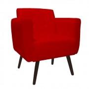 Poltrona Duda Decorativa Sala de Estar Recepção Pé Palito Suede Vermelho D09 - D´Classe Decor