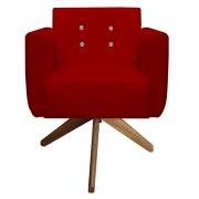 Poltrona Duda Strass Base Giratória Cadeira Escritório Consultório Salão D'Classe Decor Suede Vermelho