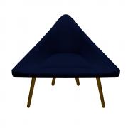 Poltrona Ibiza Triângulo Decoração Sala Estar Clinica Recepção Escritório Quarto Cadeira D'Classe Decor Suede Azul Marinho