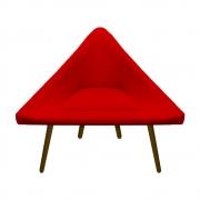Poltrona Ibiza Triângulo Decoração Sala Estar Clinica Recepção Escritório Quarto Cadeira D'Classe Decor Suede Vermelho
