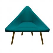 Poltrona Ibiza Triângulo Decoração Sala Recepção Escritório Quarto Cadeira Suede Azul Tiffany