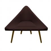 Poltrona Ibiza Triângulo Decoração Sala Recepção Escritório Quarto Cadeira Suede Marrom