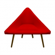 Poltrona Ibiza Triângulo Decoração Sala Recepção Escritório Quarto Cadeira Suede Vermelho