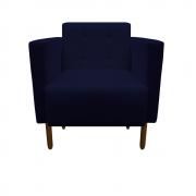 Poltrona Isa Decoração Clinica Recepção Escritório Quarto Cadeira D'Classe Decor Suede Azul Marinho