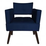 Poltrona Jollie Decoração Pé Palito Luxo Cadeira Sala Estar Escritório Recepção Suede Azul Marinho