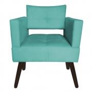 Poltrona Jollie Decoração Pé Palito Luxo Cadeira Sala Estar Escritório Recepção Suede Azul Tiffany