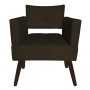 Poltrona Jollie Decoração Pé Palito Luxo Cadeira Sala Estar Escritório Recepção Suede Marrom