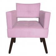 Poltrona Jollie Decoração Pé Palito Luxo Cadeira Sala Estar Escritório Recepção Suede Rosa Bebê
