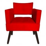 Poltrona Jollie Decoração Pé Palito Luxo Cadeira Sala Estar Escritório Recepção Suede Vermelho