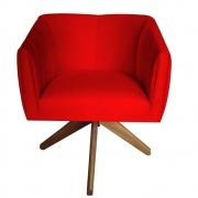 Poltrona Julia Decoração Base Giratória Salão Clinica Cadeira Escritório Recepção Suede  Vermelho