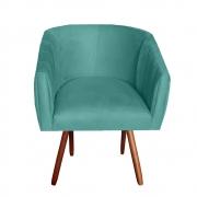 Poltrona Julia Decoração Salão Cadeira Escritório Recepção Sala Estar Amamentação D'Classe Decor Suede Azul Tiffany