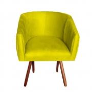 Poltrona Julia Decoração Salão Cadeira Escritório Recepção Sala Estar Amamentação D'Classe Decor Suede Amarelo