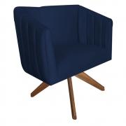 Poltrona Julia Giratória Decorativa Sala de Estar Escritório Suede Azul Marinho D02 - D´Classe Decor