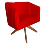 Poltrona Julia Giratória Decorativa Sala de Estar Escritório Suede Vermelho D09 - D´Classe Decor