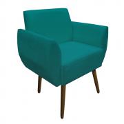 Poltrona Kelly Decoração Clinica Escritório Recepção Sala Estar Jantar Quarto Salão D'Classe Decor Suede Azul Tiffany