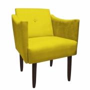 Poltrona Naty Decoração Clínica Salão Cadeira Recepção Escritório Sala Estar D'Classe Decor Suede Amarelo