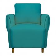 Poltrona Nicolle Decoração Clinica Escritório Recepção Sala Quarto Salão Suede Azul Tiffany
