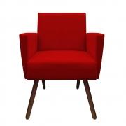 Poltrona Nina Decoração Sala Estar Clinica Recepção Escritório Quarto Cadeira D'Classe Decor Suede Vermelho