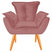 Poltrona Opala Decorativa Sala de Estar Recepção Pé Palito Veludo Rose C22 - D´Classe Decor