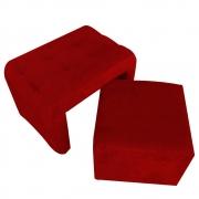 Puff Brenda 2 EM 1 Suede Vermelho -  D'Classe Decor
