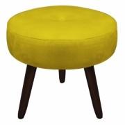 Puff Duda Decorativa Sala de Estar Recepção Pé Palito Suede Amarelo D04 - D´Classe Decor