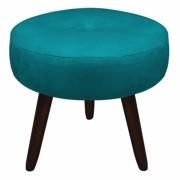 Puff Duda Decorativa Sala de Estar Recepção Pé Palito Suede Azul Tifany D05 - D´Classe Decor