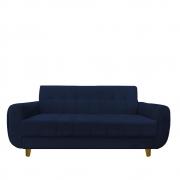 Sofá 3 lugares Golden Sala de estar Luxo Escritório Clinica Recepção D'classe Decor Suede Azul Marinho