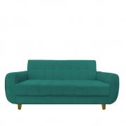 Sofá 3 lugares Golden Sala de estar Luxo Escritório Clinica Recepção D'classe Decor Suede Azul Tiffany