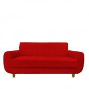 Sofá 3 lugares Golden Sala de estar Luxo Escritório Clinica Recepção D'classe Decor Suede Vermelho