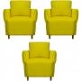 Kit 03 Poltrona Nicolle Decoração Clinica Escritório Recepção Sala Quarto Salão Suede Amarelo