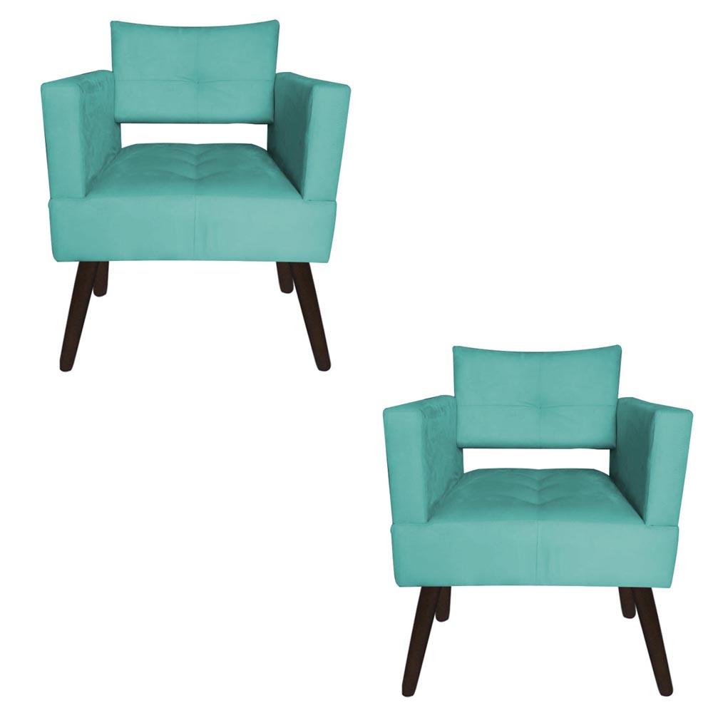 Kit 02 Poltrona Jollie Decoração Pé Palito Luxo Cadeira Sala  Escritório Recepção Suede Azul Tiffany