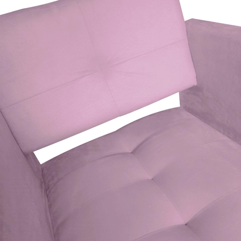 Kit 02 Poltrona Jollie Decoração Pé Palito Luxo Cadeira Sala Estar Escritório Recepção D'Classe Decor Suede Rosa Bebê