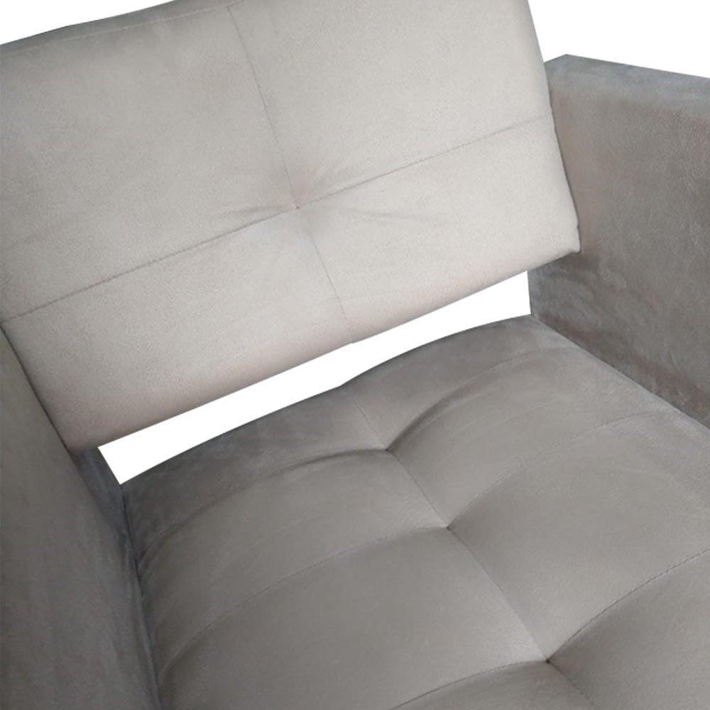 Kit 02 Poltrona Jollie Decoração Pé Palito Luxo Cadeira Sala Estar Escritório Recepção D'Classe Decor Suede Bege