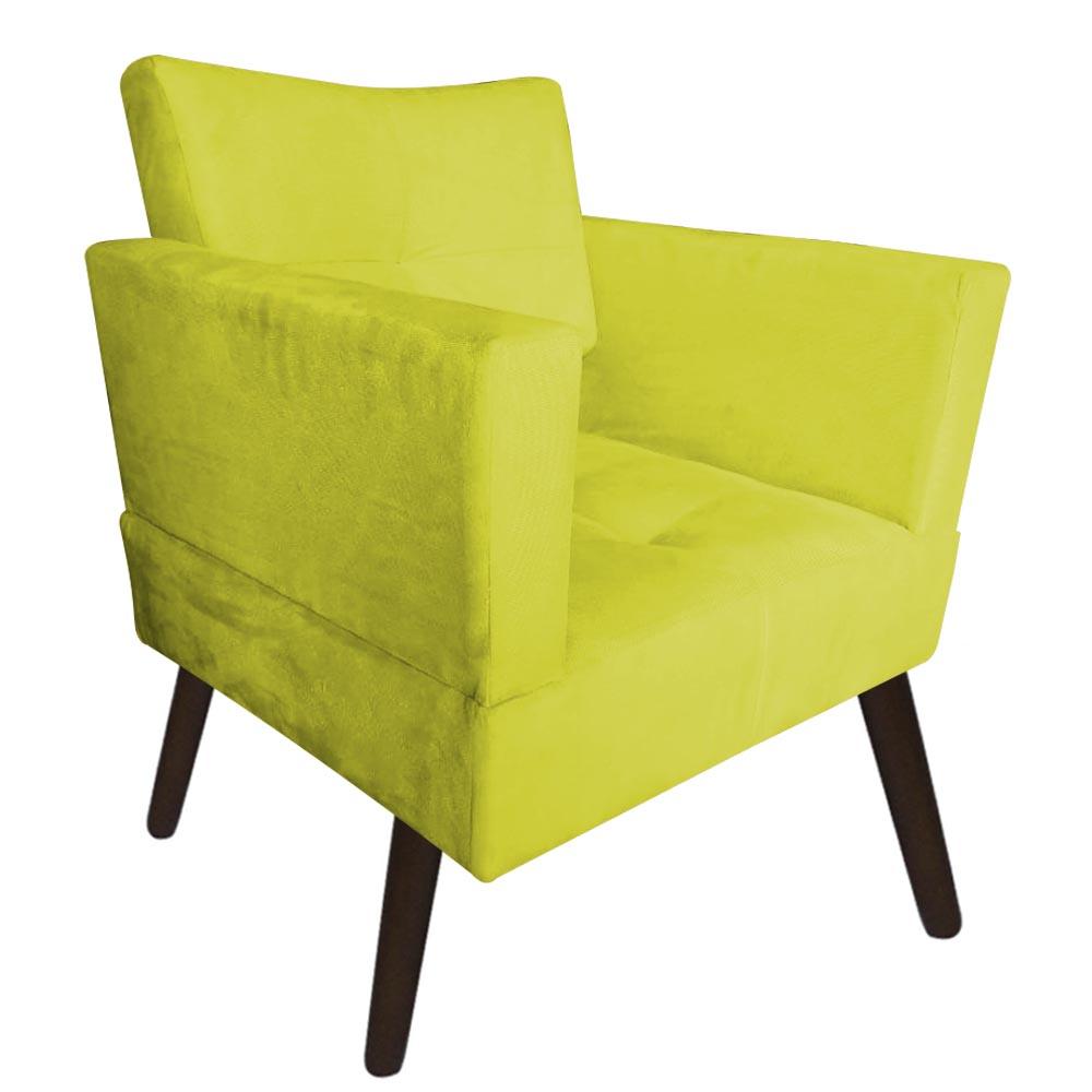 Kit 02 Poltrona Jollie Decoração Pé Palito Luxo Cadeira Sala Estar Escritório Recepção Suede Amarelo