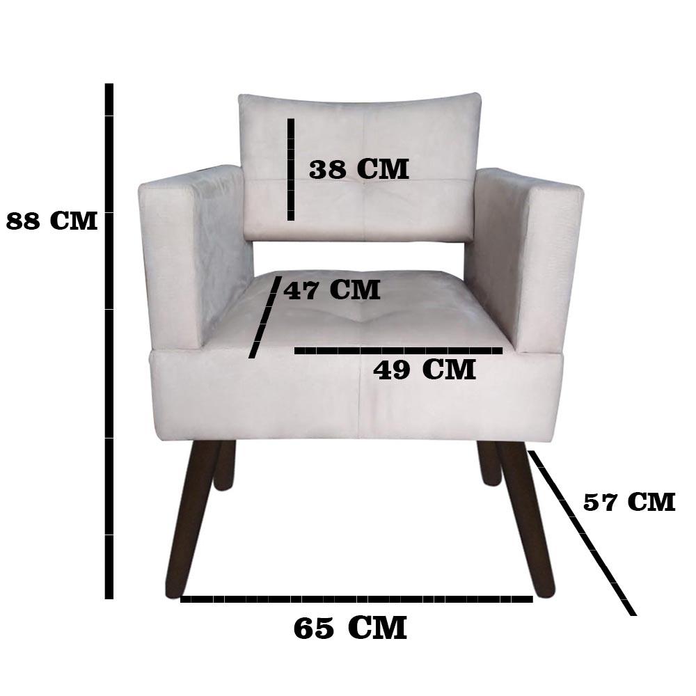 Kit 02 Poltrona Jollie Decoração Pé Palito Luxo Cadeira Sala Estar Escritório Recepção Suede Bege