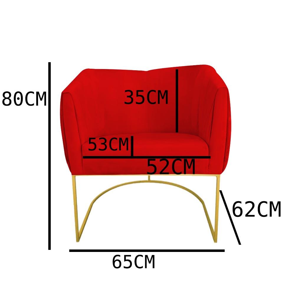 Kit 02 Poltrona Julia com base de ferro Sala de estar Escritório Recepção Clinica D'classe Decor Suede Vermelho