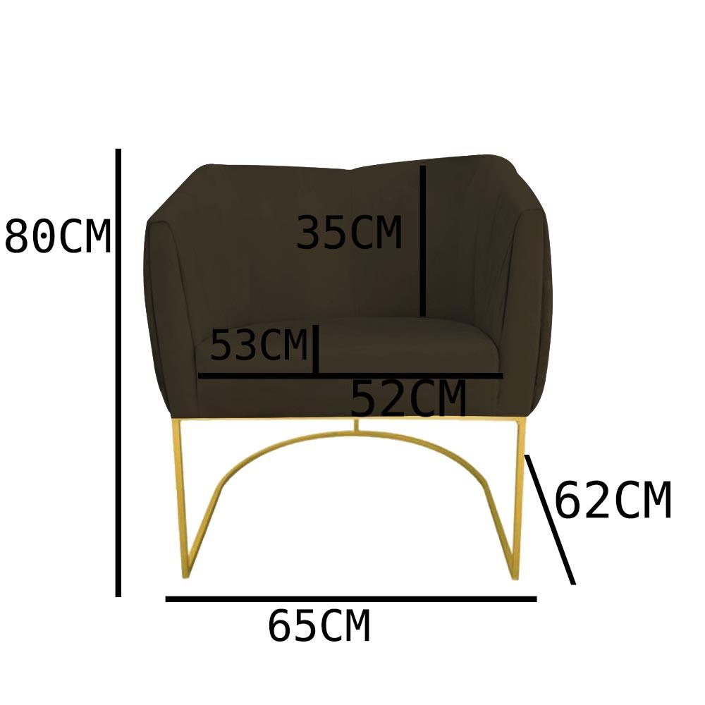 Kit 02 Poltrona Julia com base de ferro Sala de estar Escritório Recepção Clinica D'classe Decor Suede Marrom