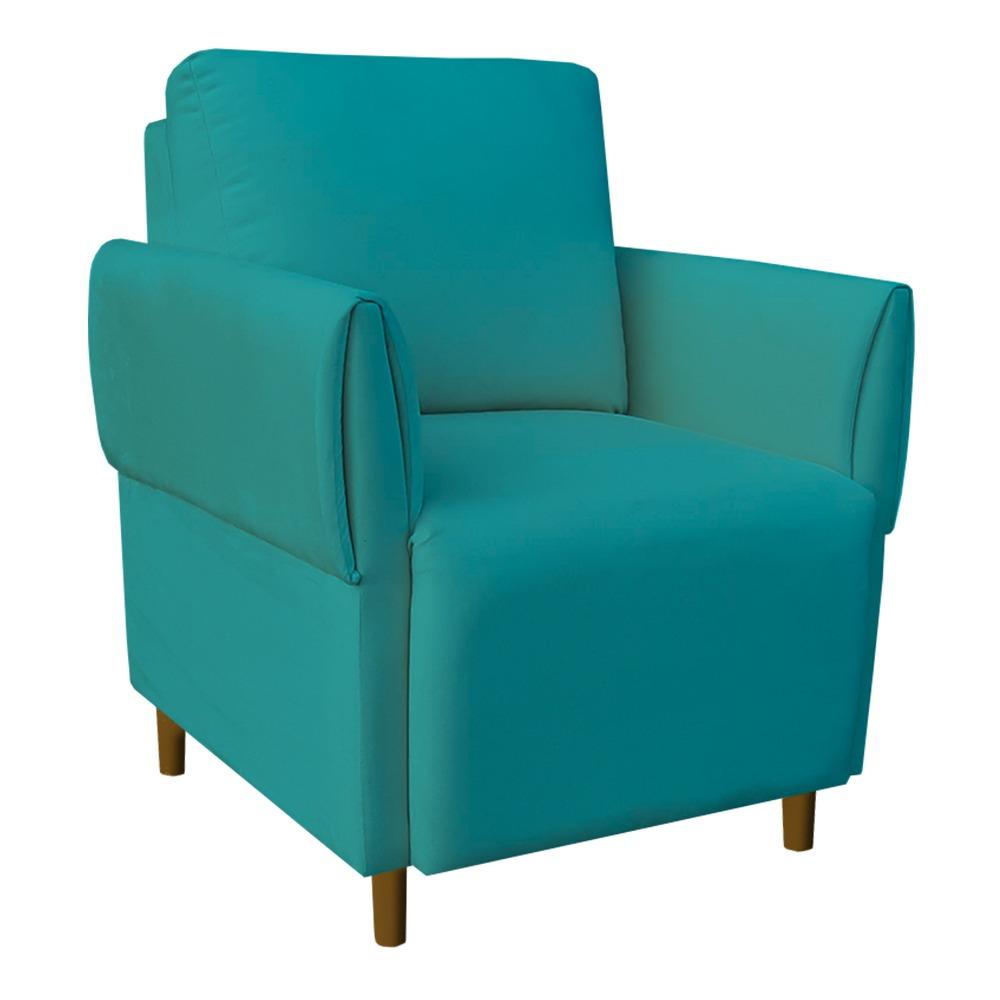 Kit 02 Poltrona Nicolle Decoração Clinica Escritório Recepção Sala Estar Quarto Salão D'Classe Decor Suede Azul Tiffany
