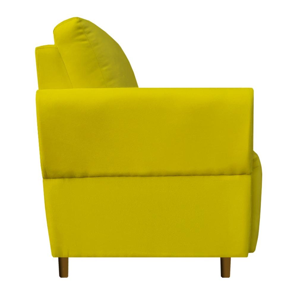 Kit 02 Poltrona Nicolle Decoração Clinica Escritório Recepção Sala Quarto Salão Suede Amarelo