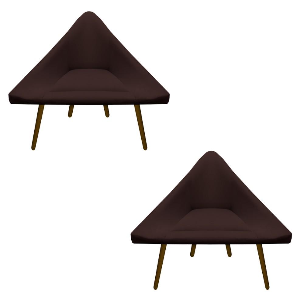 Kit 2 Poltrona Ibiza Triângulo Decoração Sala Clinica Recepção Escritório Quarto Cadeira D'Classe Decor Suede Marrom