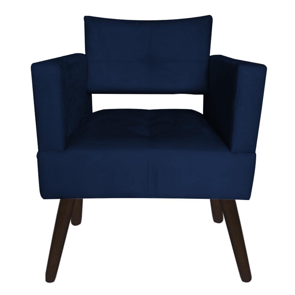 Kit 03 Poltrona Jollie Decoração Pé Palito Luxo Cadeira Sala Escritório Recepção Suede Azul Marinho