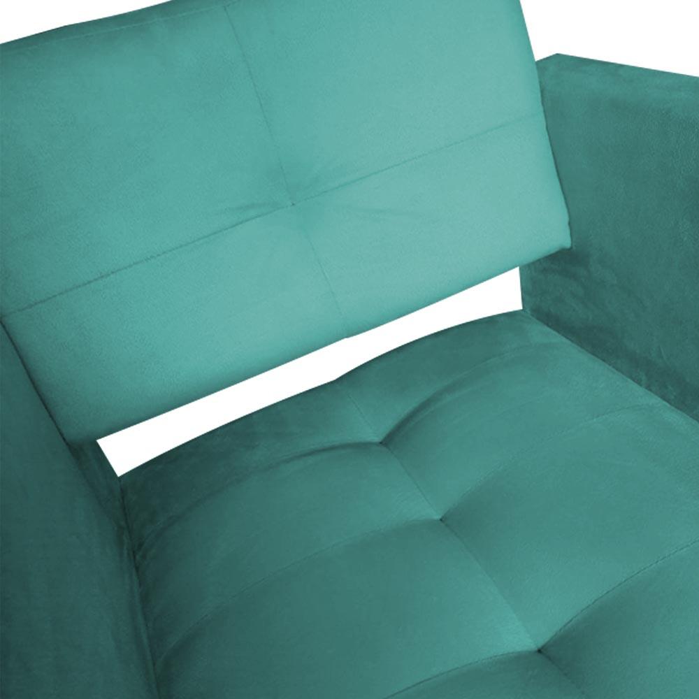 Kit 03 Poltrona Jollie Decoração Pé Palito Luxo Cadeira Sala Escritório Recepção Suede Azul Tiffany