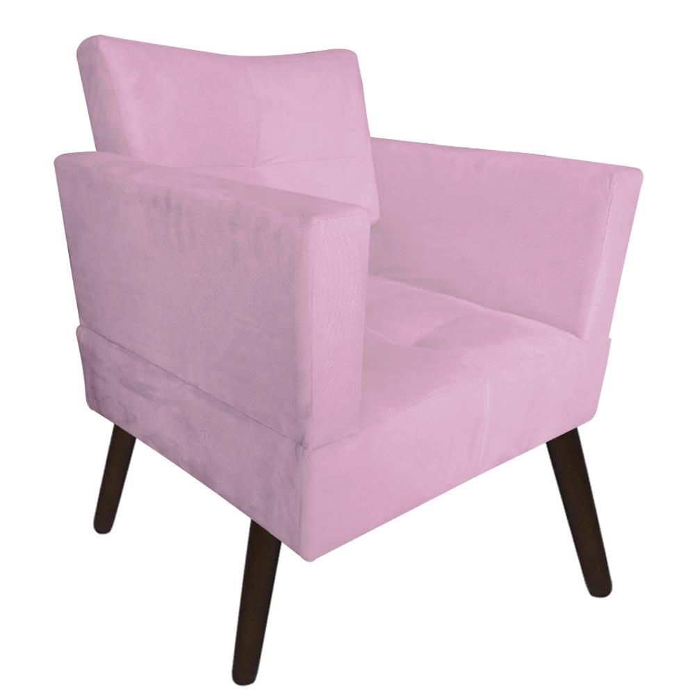 Kit 03 Poltrona Jollie Decoração Pé Palito Luxo Cadeira Sala Escritório Recepção Suede Rosa Bebê