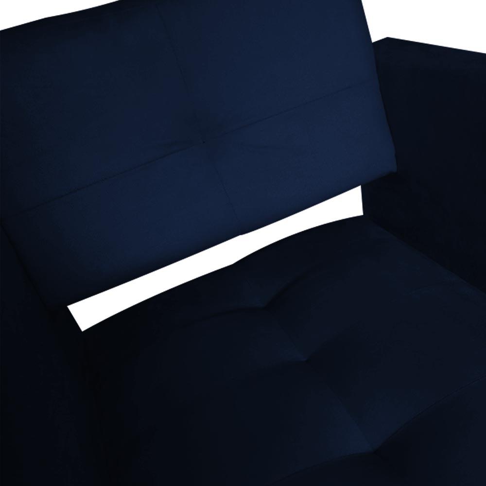 Kit 03 Poltrona Jollie Decoração Pé Palito Luxo Cadeira Sala Estar Escritório Recepção D'Classe Decor Suede Azul Marinho