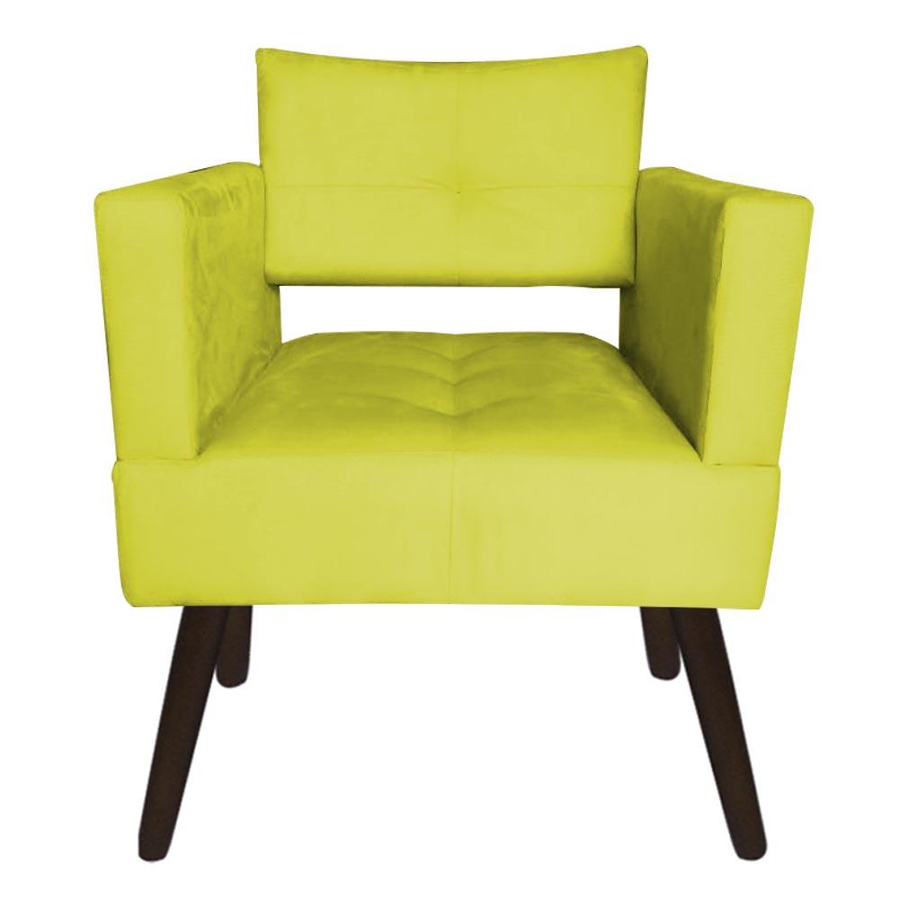 Kit 03 Poltrona Jollie Decoração Pé Palito Luxo Cadeira Sala Estar Escritório Recepção D'Classe Decor Suede Amarelo