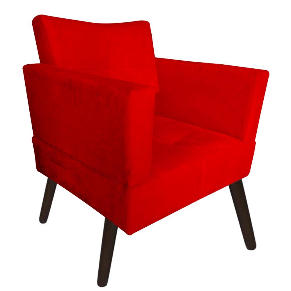 Kit 03 Poltrona Jollie Decoração Pé Palito Luxo Cadeira Sala Estar Escritório Recepção Suede Vermelho