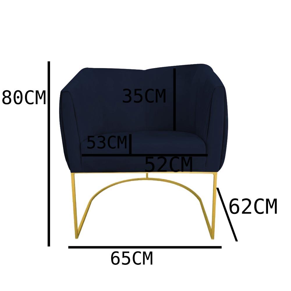 Kit 03 Poltrona Julia com base de ferro Sala de estar Escritório Recepção Clinica D'classe Decor Suede Azul Marinho