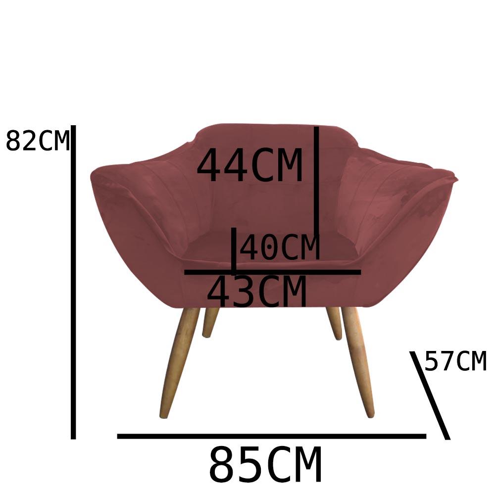 kit 03 Poltrona Vitória Decoração Luxo Pé Palito Sala Estar Escritório Recepção Clinica D'Classe Decor Veludo Rosê