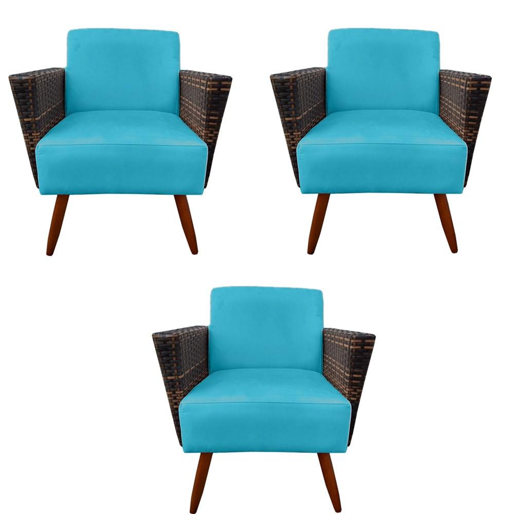 Kit 3 Poltrona Chanel Decoração Pé Palito Cadeira Escritório Clinica Jantar Sala Estar D'Classe Decor Suede Azul Tiffany